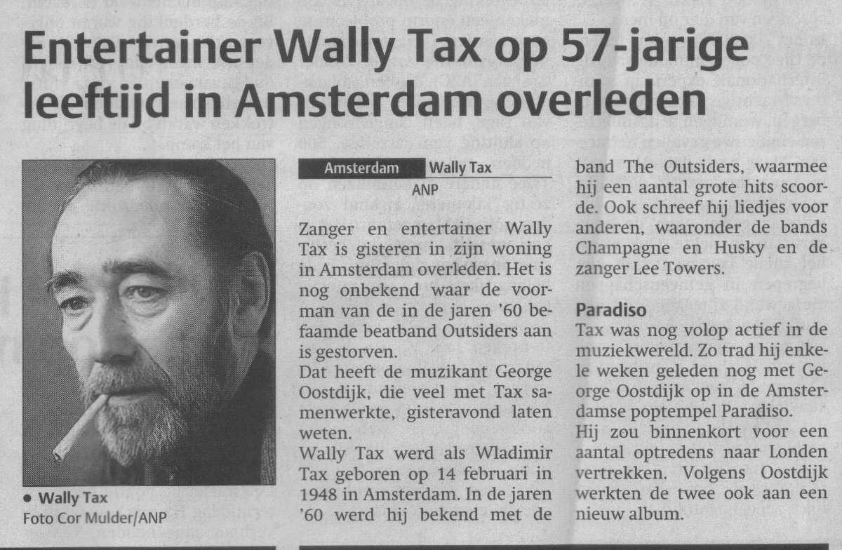 Wally Tax krant